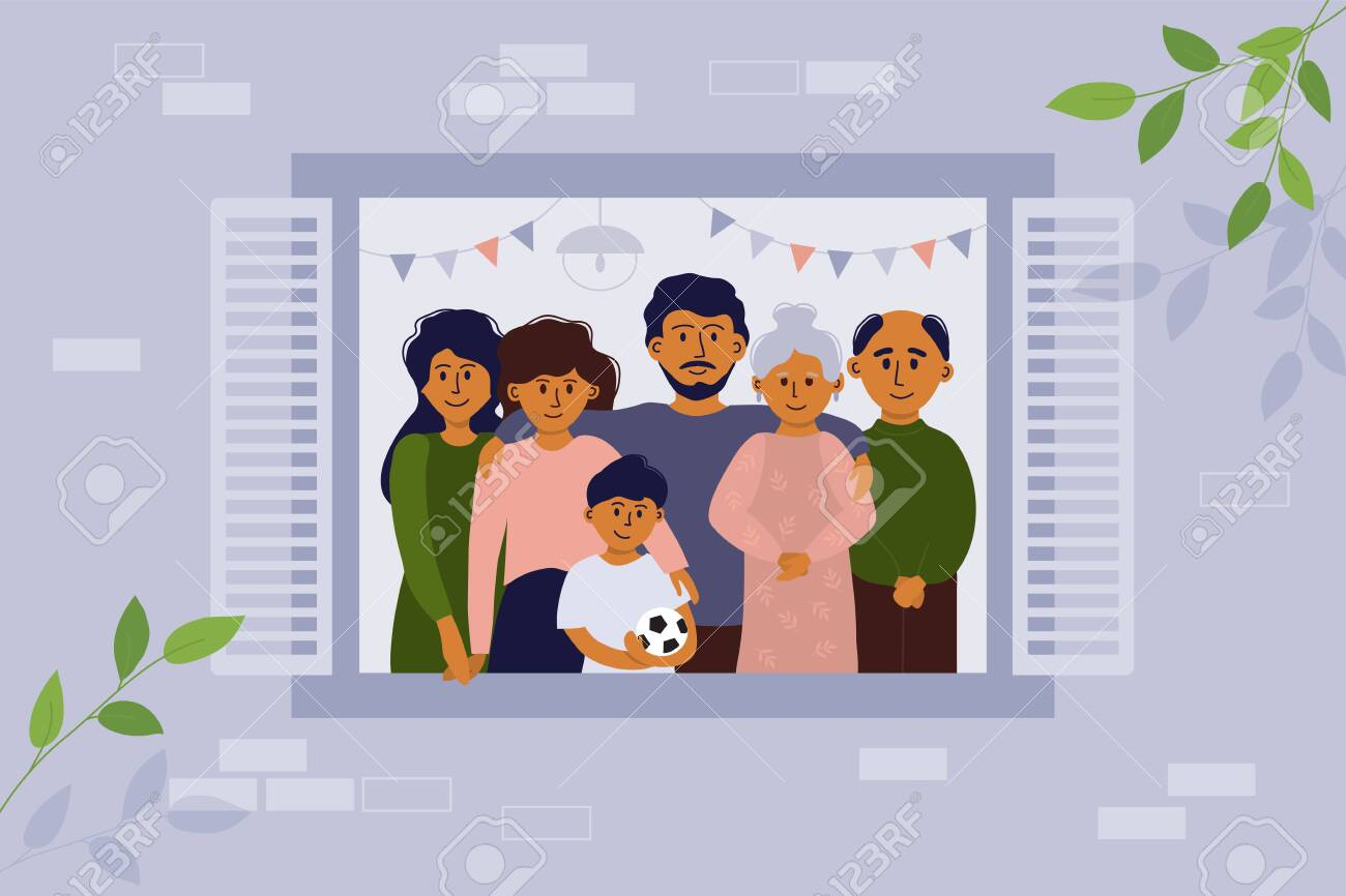 Stay home concept. House facade. Vector illustration of big family looking out of window. Seniors and young people stay together. Parents, children, grandmother and grandfather. Coronavirus quarantine - 144219694