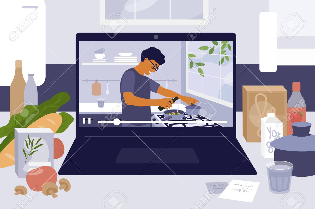 Laptop On Kitchen Table With Cooking Online Master Class Culinary Video Blog Show With Man Preparing Homemade Meal Stay Home Cook Healthy Food By Recipe Coronavirus Quarantine Vector Illustration Lizenzfrei Nutzbare Vektorgrafiken