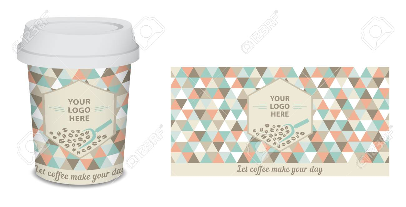 Paper Cup Mug Coffee Design For Your Company In Vector Turquoise Stock Photo Picture And Royalty Free Image Image 96398450