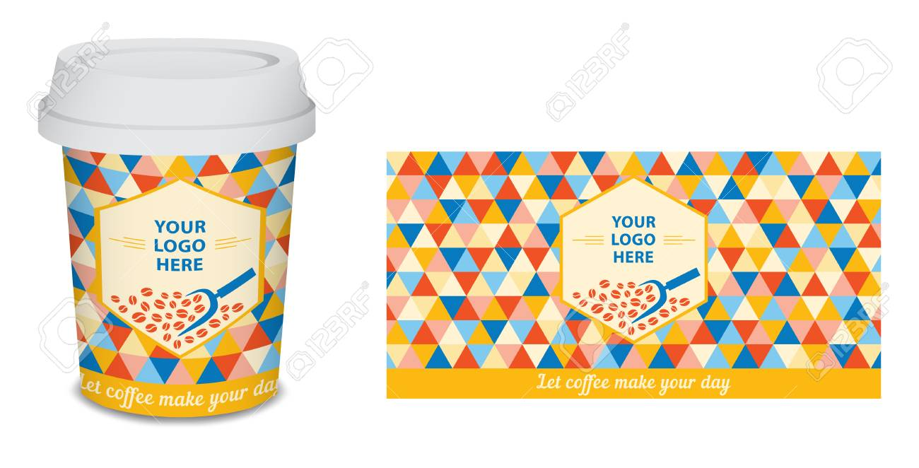 Paper Cup Mug Coffee Design For Your Company In Vector Blue Stock Photo Picture And Royalty Free Image Image 96322387