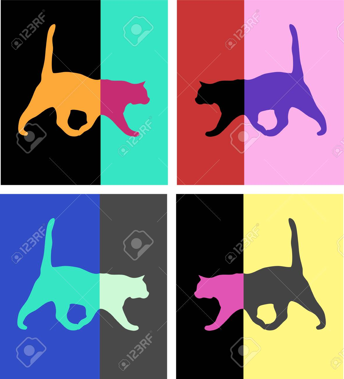 cats pop art set pictures royalty free cliparts vectors and stock