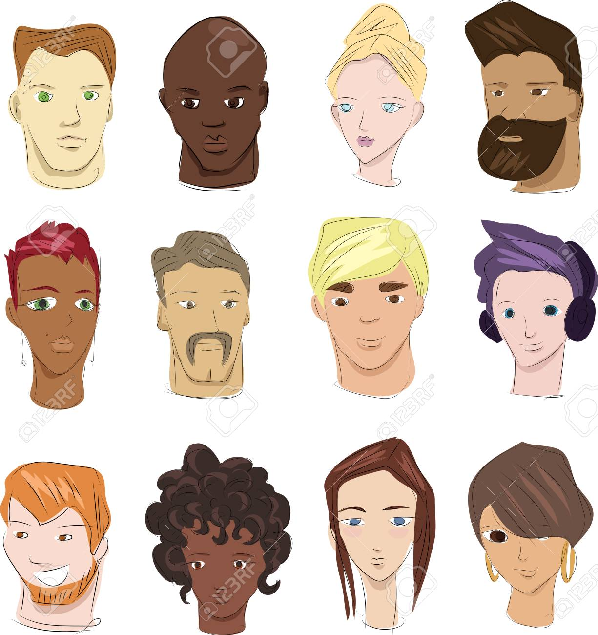 sketches of human faces in color royalty free cliparts vectors and