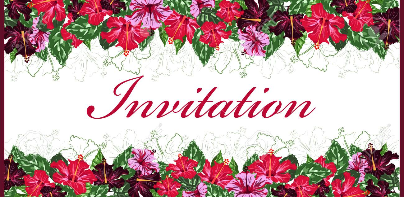 invitation card template with flowers border vector illustration