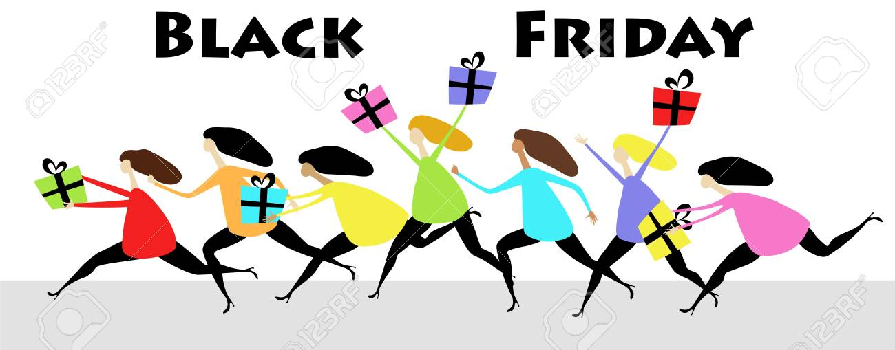 Girls In Rainbow Clothes Run For Sale On Black Friday Day Royalty Free Cliparts Vectors And Stock Illustration Image 108213195