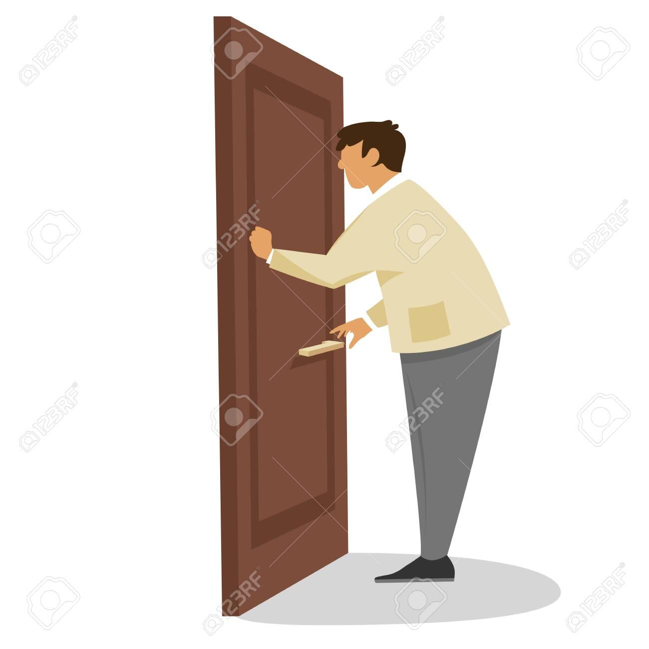 a man knocks on the door. vector flat illustration - 130213739