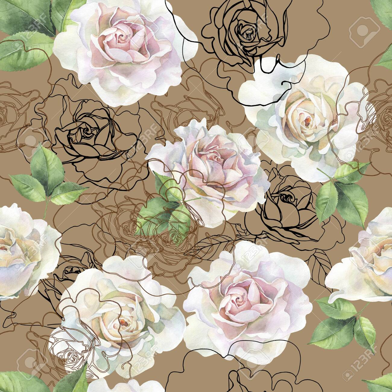 Seamless pattern of watercolor roses and graphics - 128254224