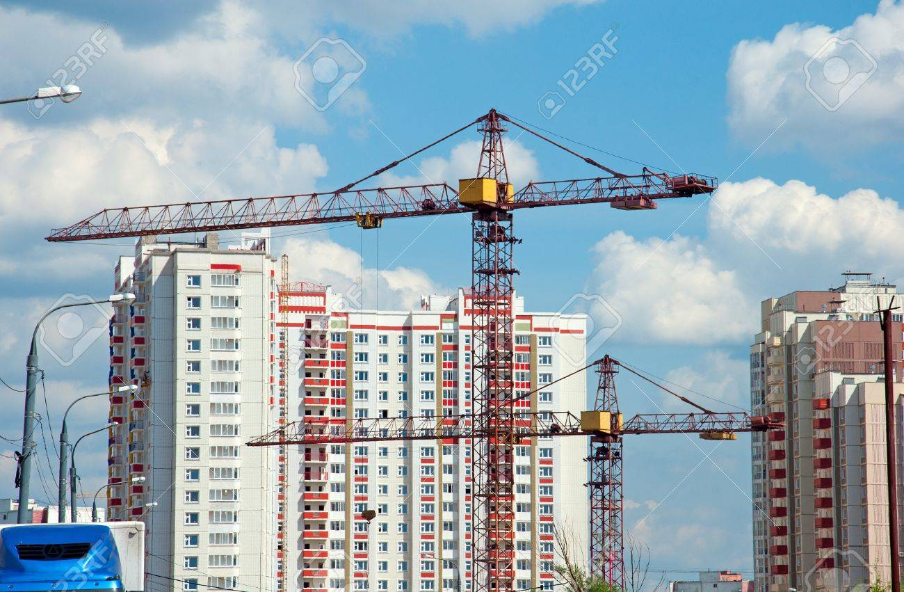 The Construction Of Modern Residential Building Stock Photo