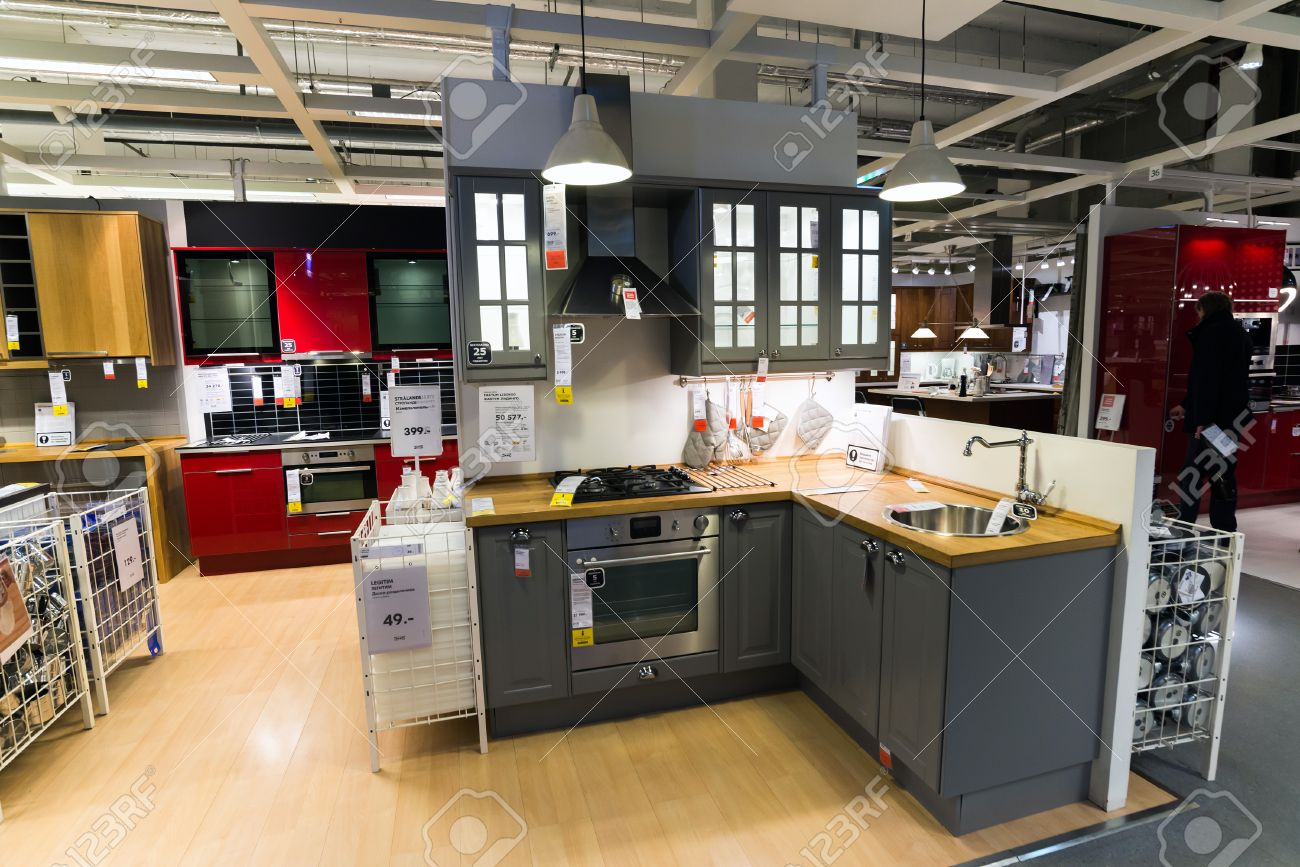 Kitchen In The Furniture Store Ikea Stock Photo Picture And