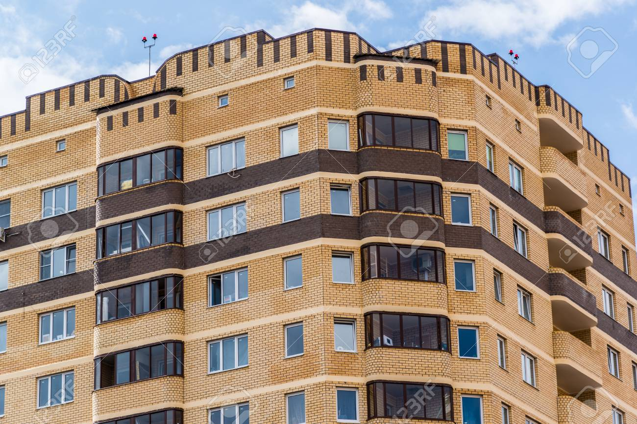 Modern High Rise Apartment Building Made Of A Brick Stock Photo   56219930