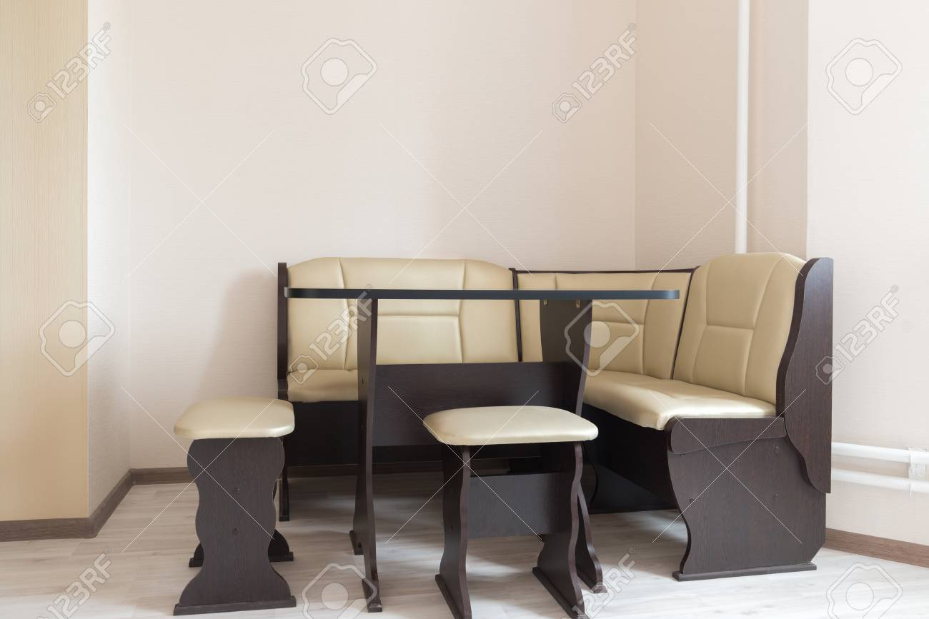 Picture of: Kitchen Corner Sofa And Table In The Interior Stock Photo Picture And Royalty Free Image Image 77904814