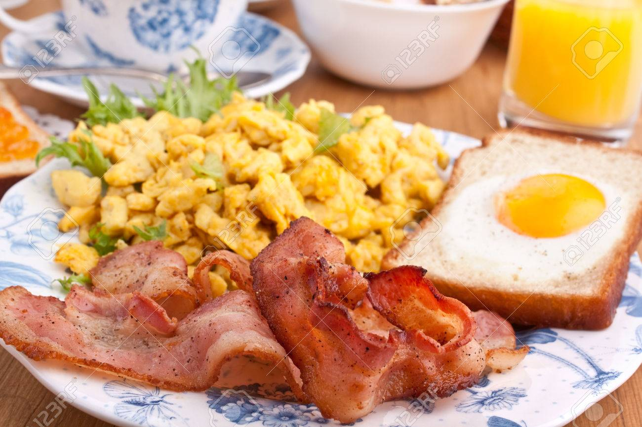 Eggy Bread Scrambled Eggs And Fried Bacon Stock Photo 31593107