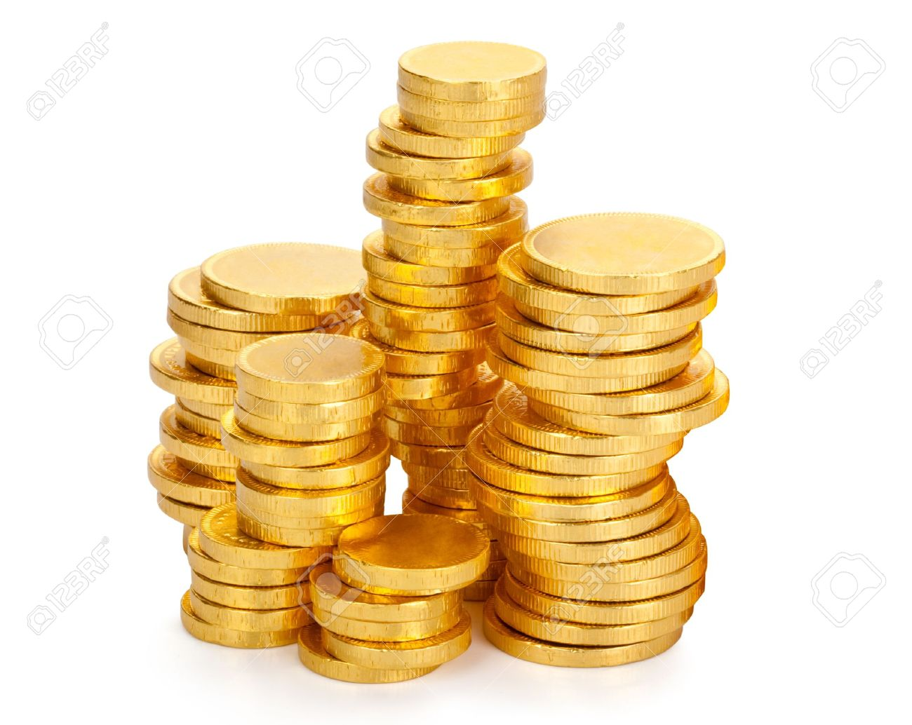 Lots Of Chocolate Money In A Gold Wrapper Stock Photo, Picture And ...