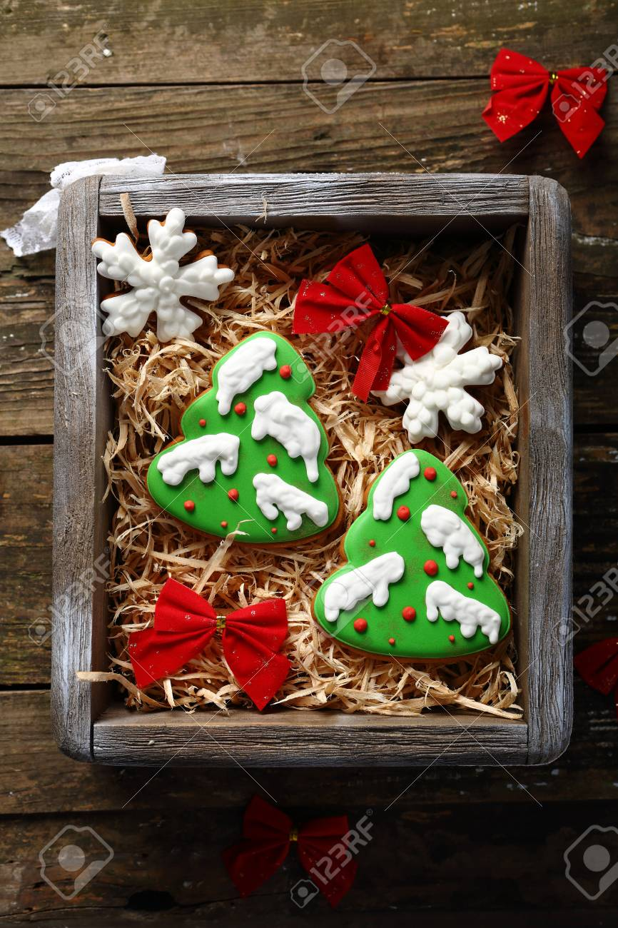 Christmas Cookies Sweet Gift, Food Top View Stock Photo, Picture And ...