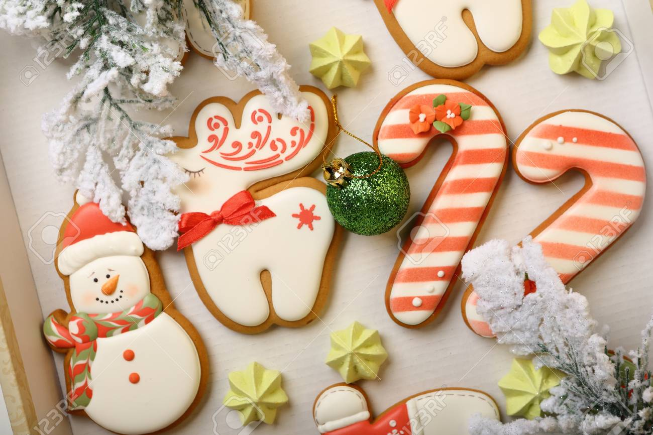 Christmas Cookies Box.Gingerbread Christmas Cookies Set In Box Holidays