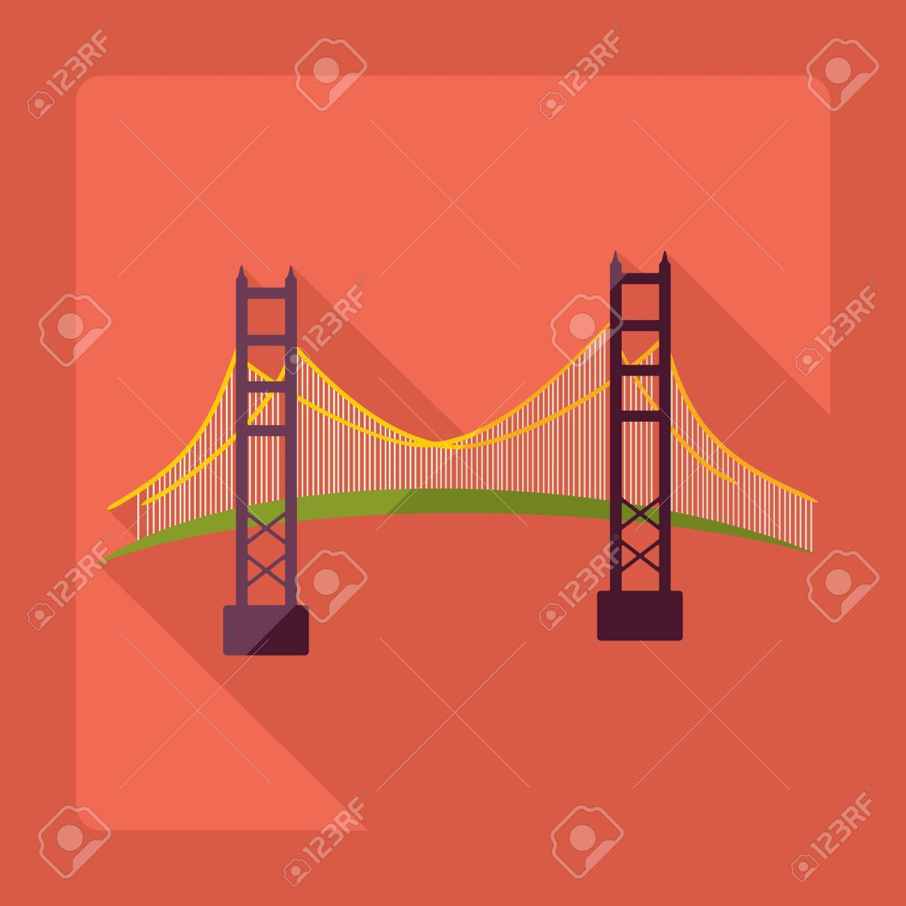 Flat modern design with shadow San Francisco Golden Gate bridge - 53030629