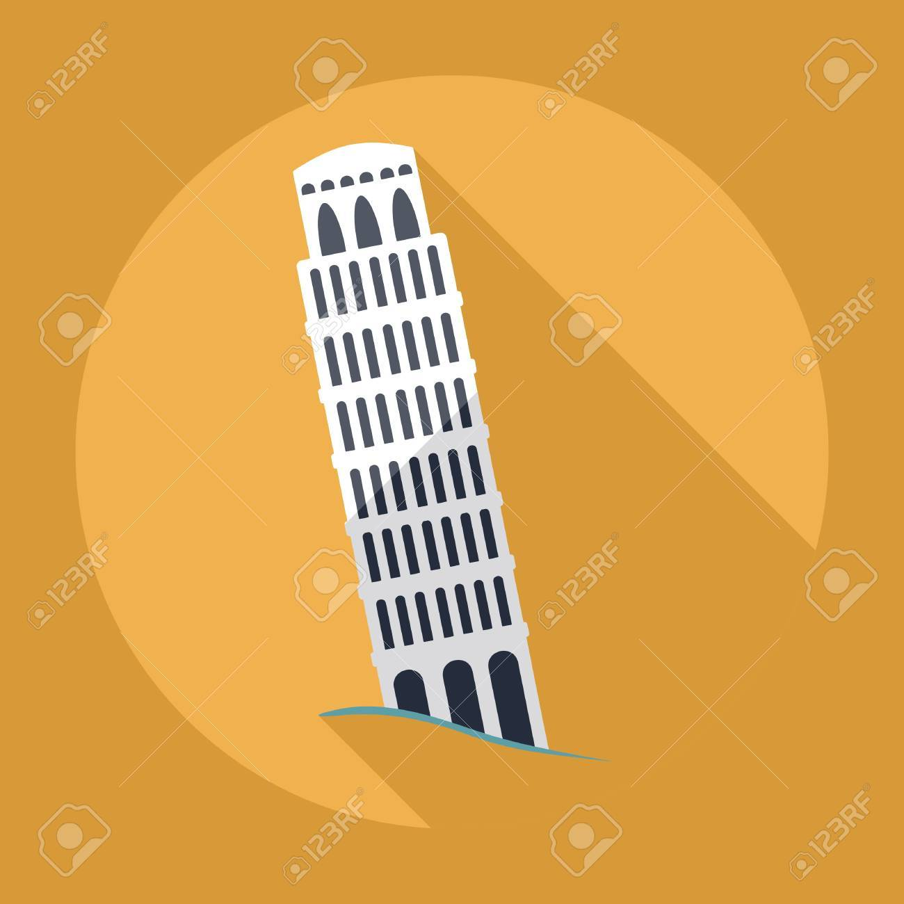 Flat modern design with shadow , Leaning Tower of Pisa - 53030640