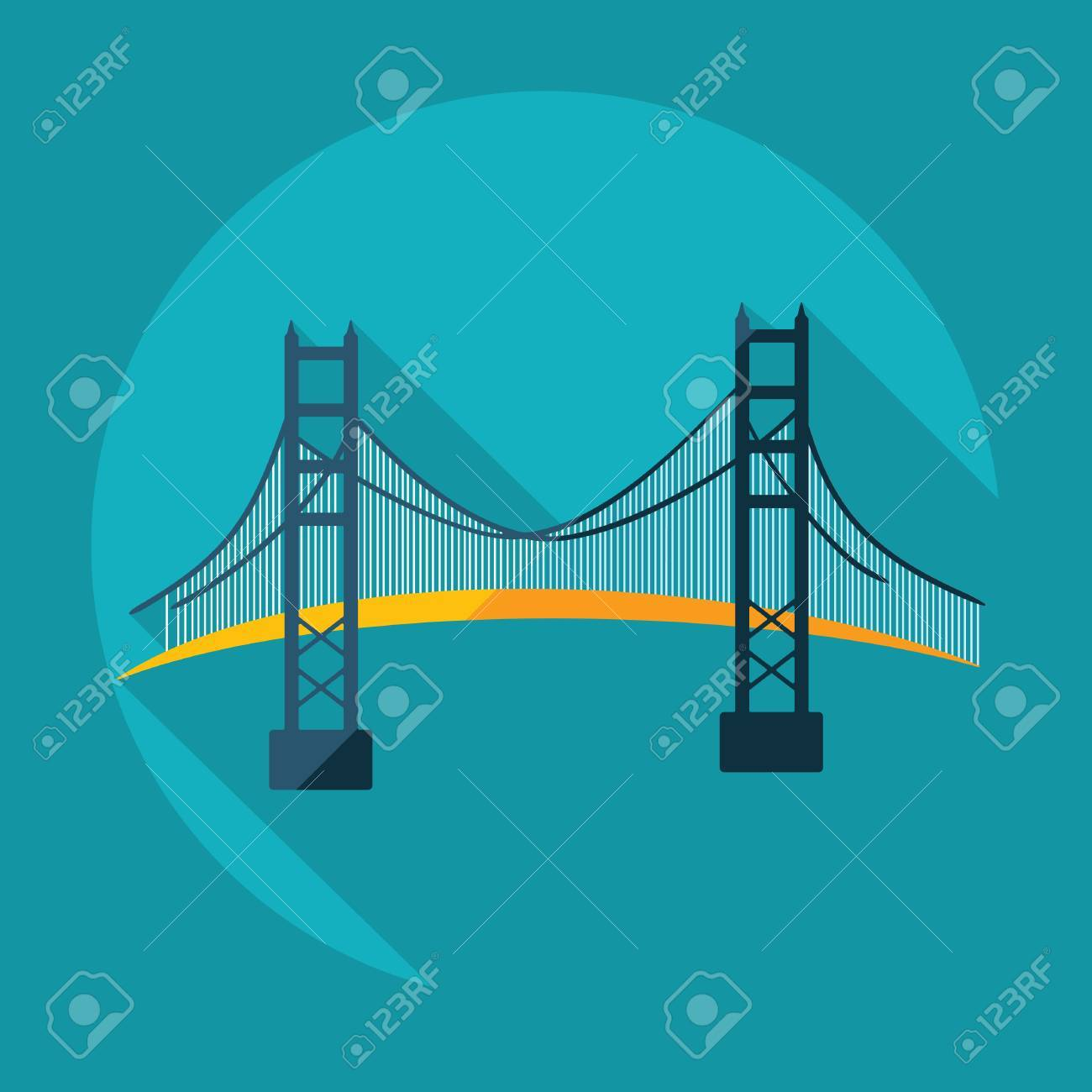 Flat modern design with shadow San Francisco Golden Gate bridge - 53032341