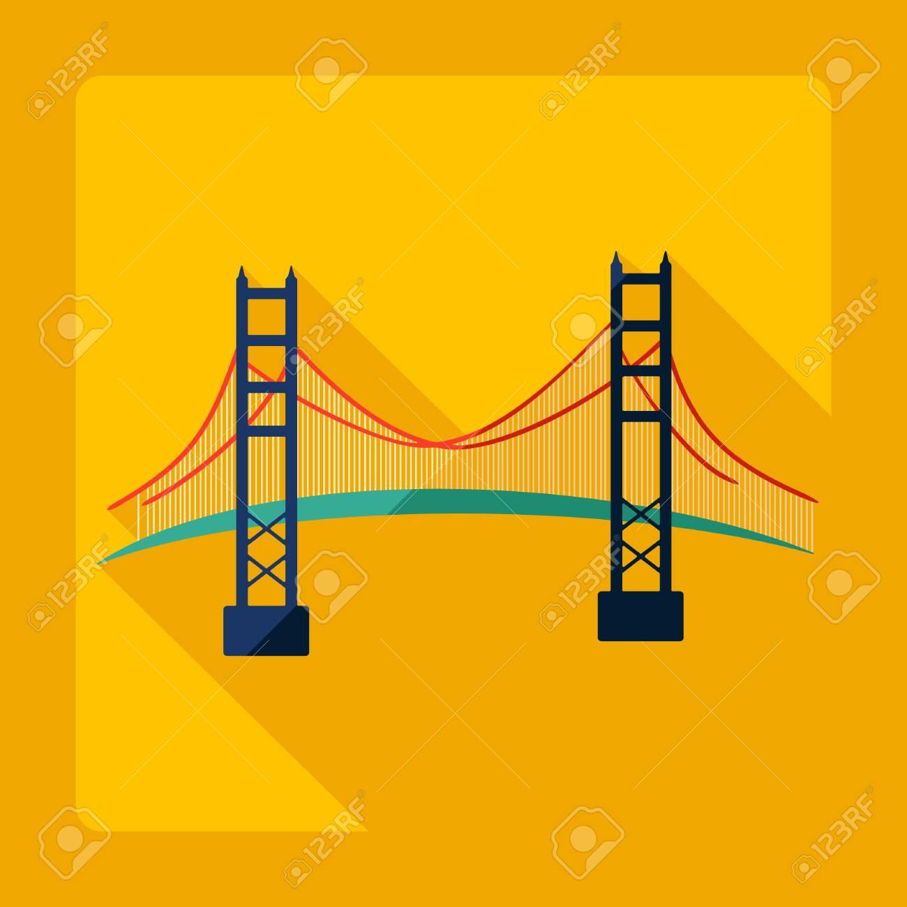 Flat modern design with shadow San Francisco Golden Gate bridge - 53037772