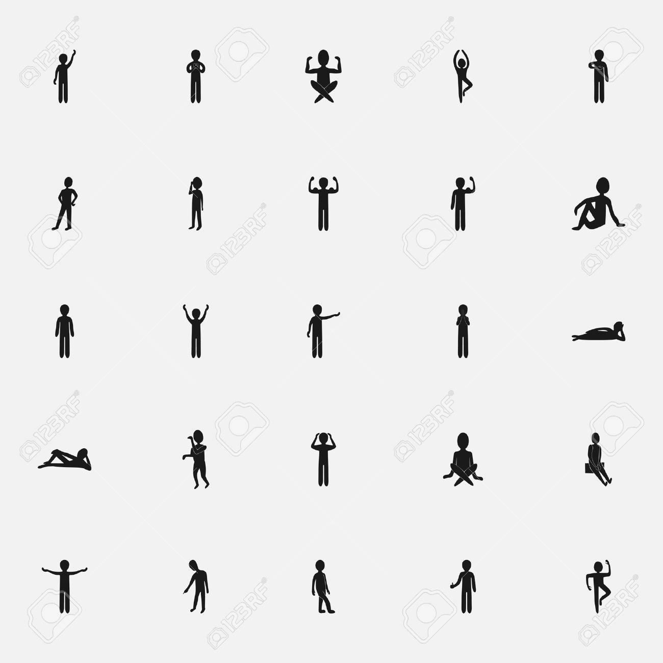black icon stick figure on a white background flat style - 53277618