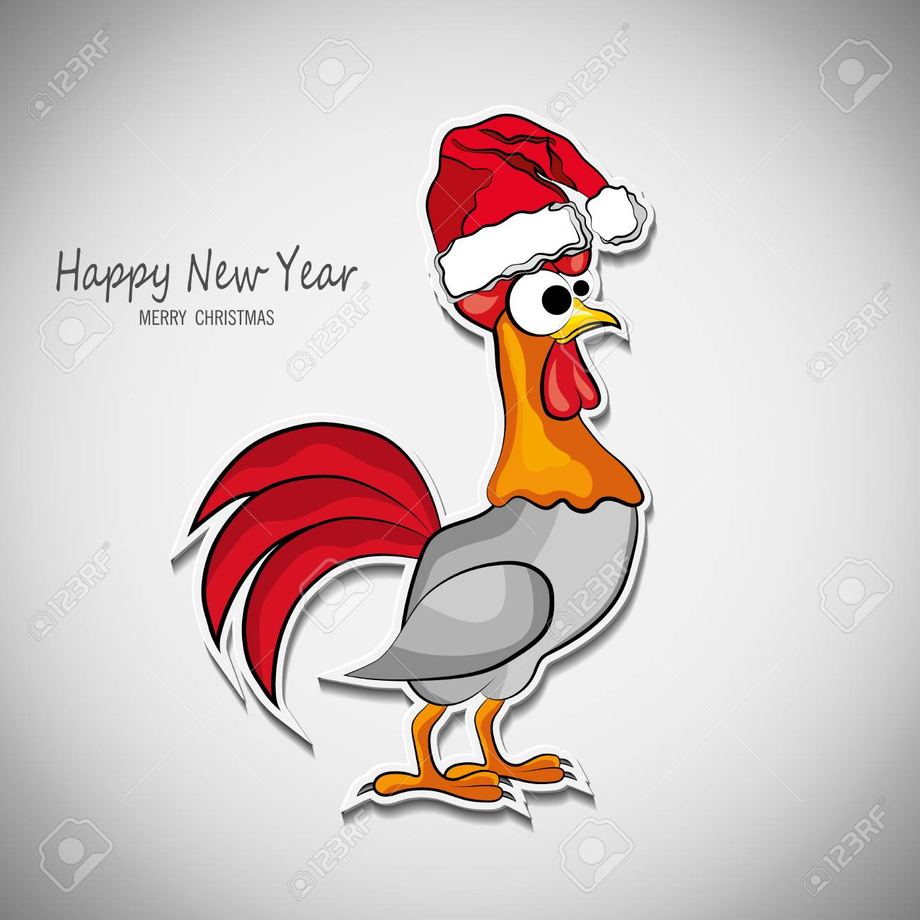Entwurf Für Eine Begrüßung Des Neuen Jahres 2017 Mit Einem Hahn ...