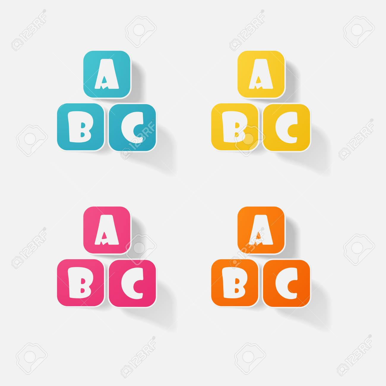 Sticker paper products realistic element design letters a b c stock vector 68373946
