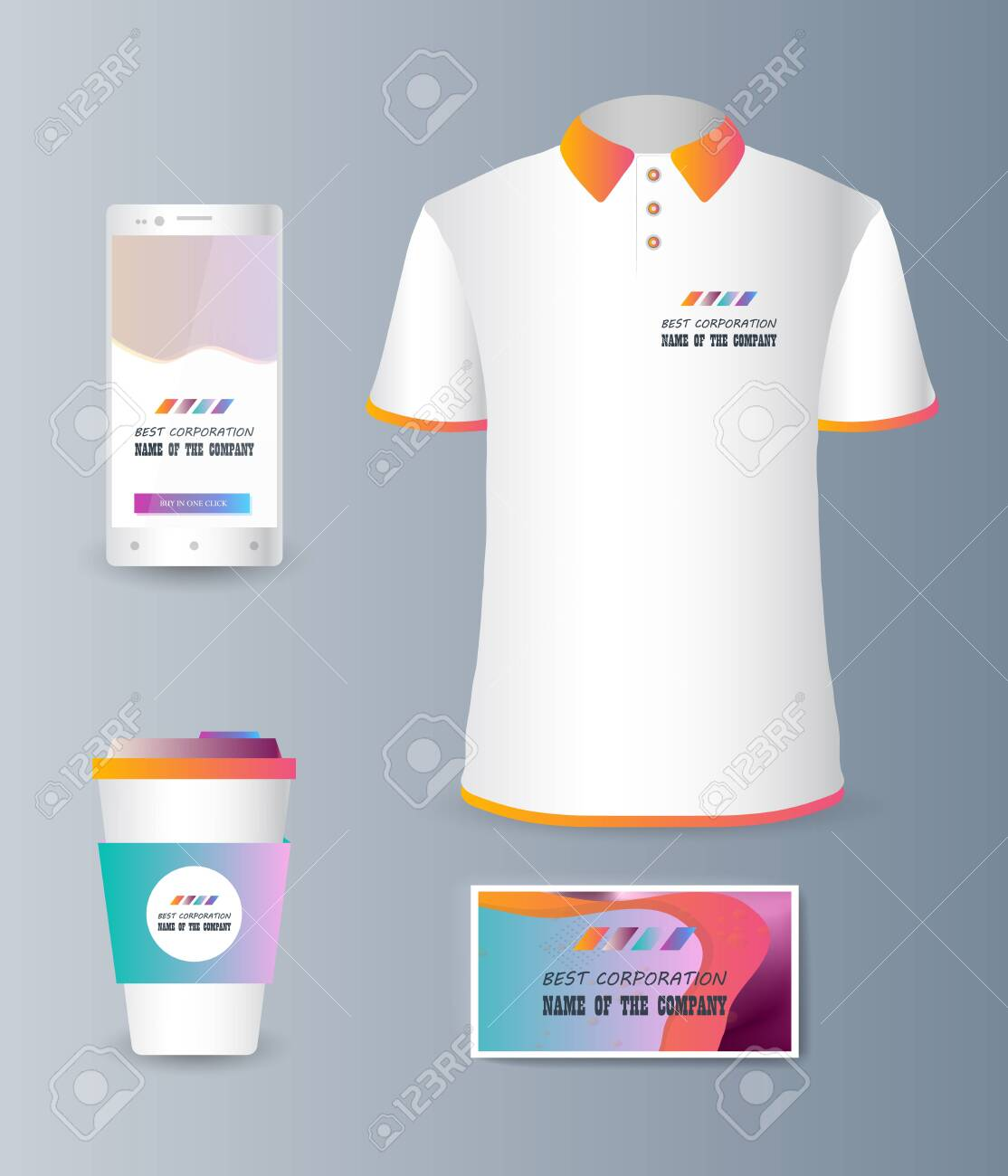 Presentation of a collection fashionable stylish items for marketing
