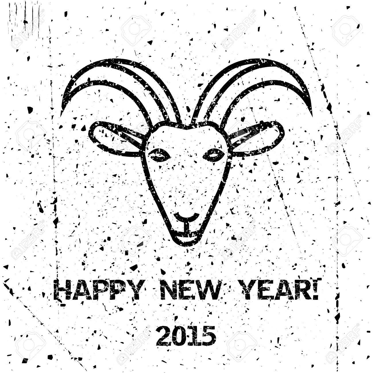 Greeting Happy New Year Card With Goat With Grunge Texture Holiday