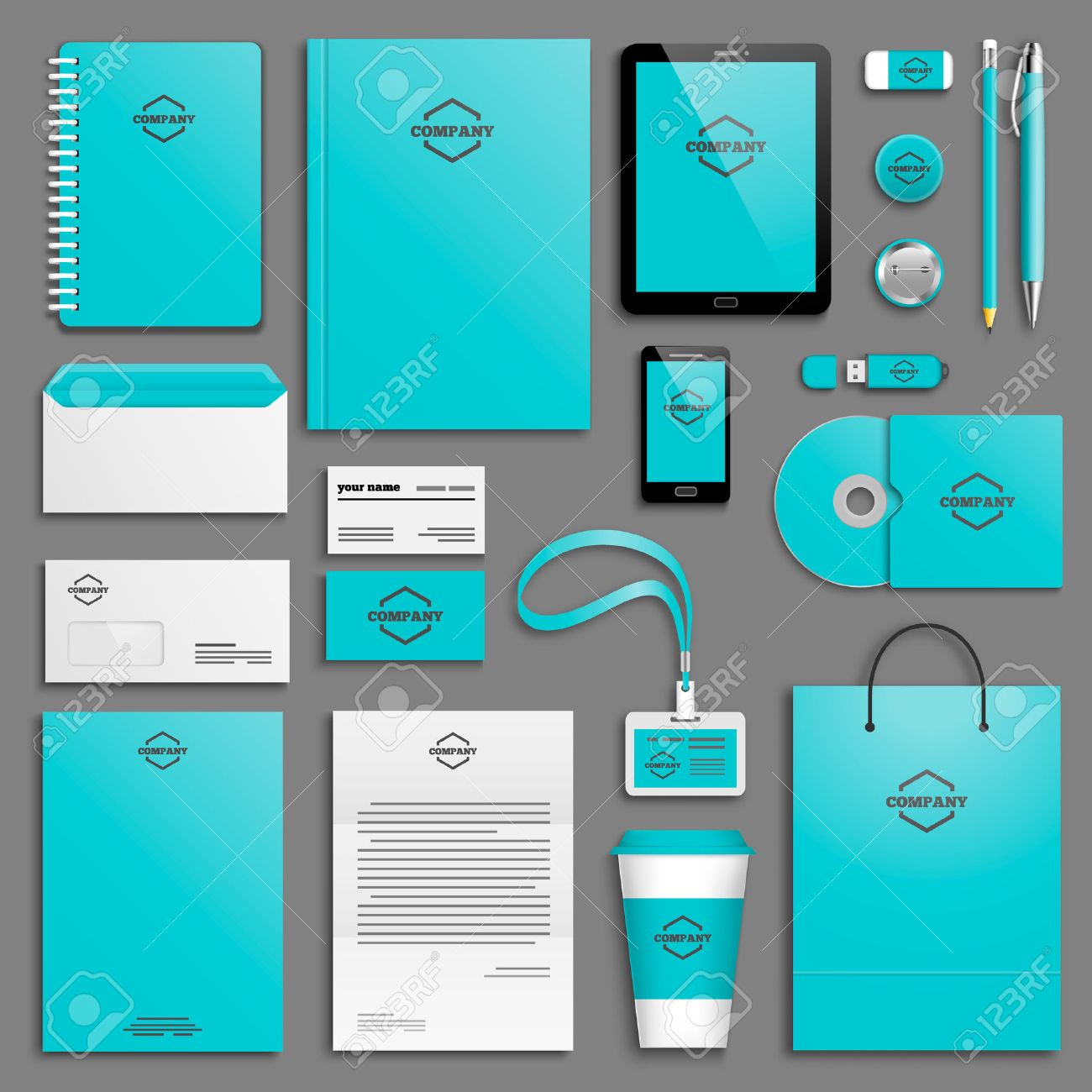 corporate identity template set business stationery mock up