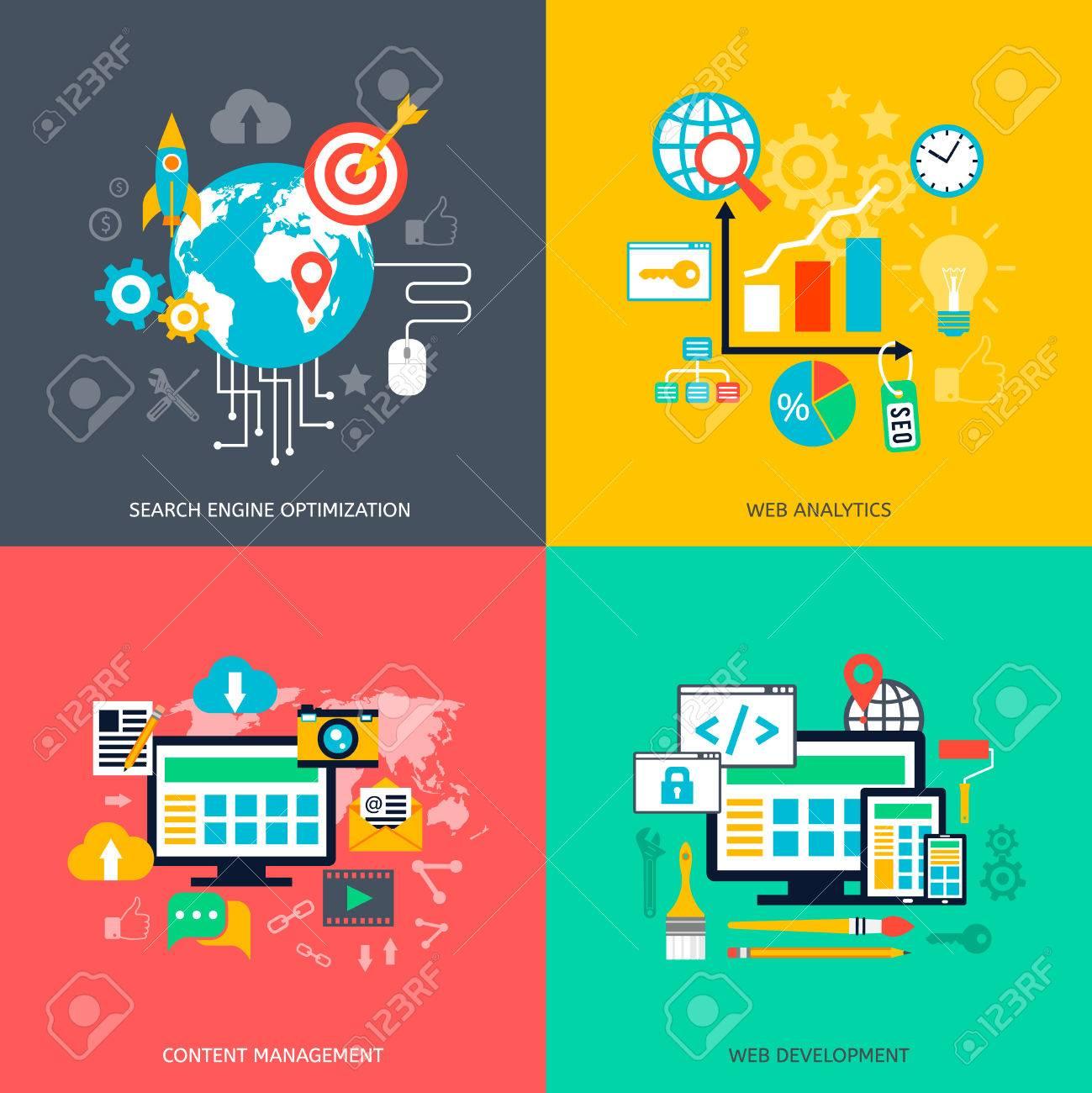 SEO optimization icons. Web development, internet marketing, web design, tags, target stratege, analysis - 41168825