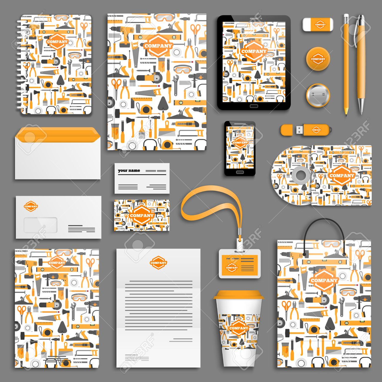 work tools corporate identity template set business stationery