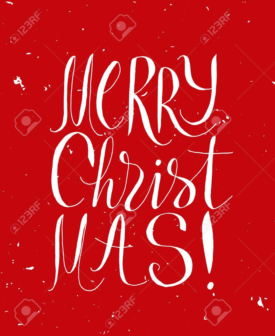 Rote Gruß Weihnachtskarte Mit Handgezeichneten Typografie Schriftzug ...