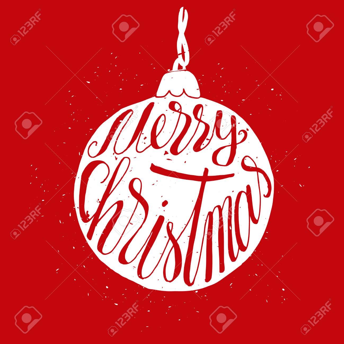 Rote Hand Gezeichnete Gruß Weihnachtskarte Mit Ball Mit Grunge ...