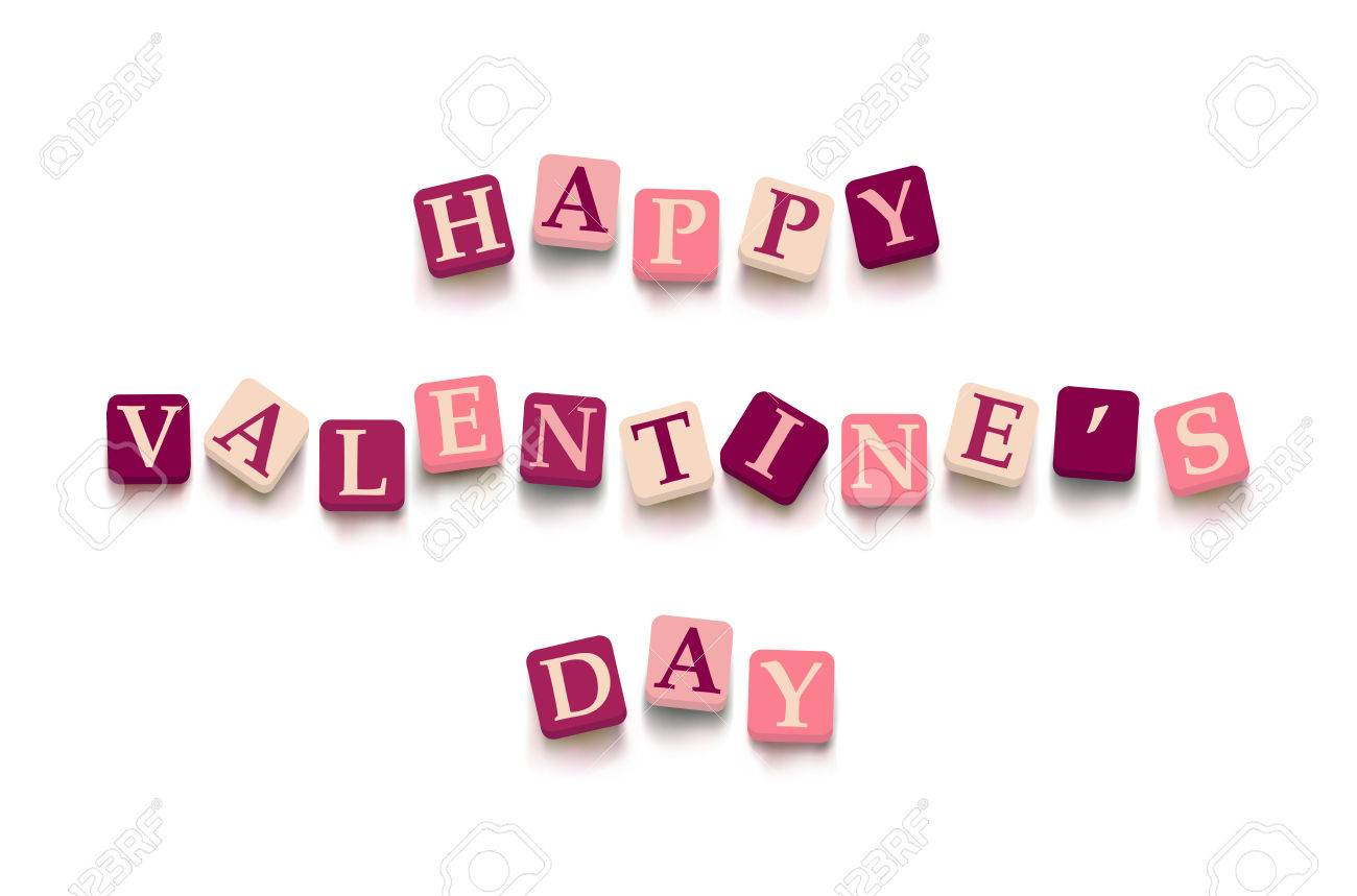 Words Happy Valentine Day With Colorful Blocks Isolated On A White  Background. Description With Bright