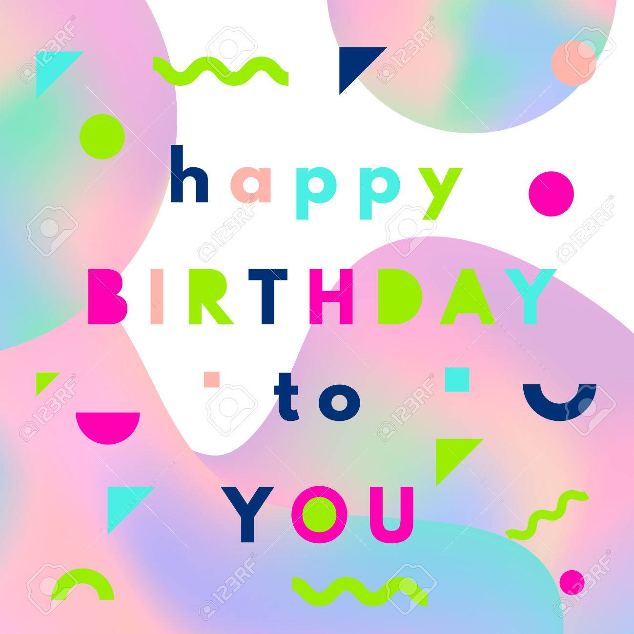 Happy birthday greeting card with holographic mesh layout in happy birthday greeting card with holographic mesh layout in memphis style stock vector 60194194 kristyandbryce Gallery