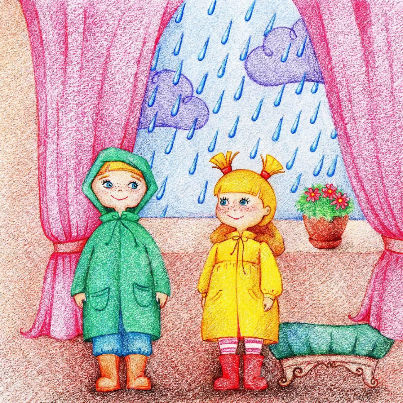 Une Et Deux Adorables Les Tiennent Fenêtre Au Dans Enfants