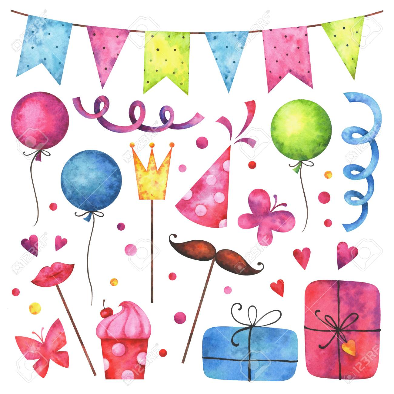 Watercolor happy birthday clip art set hand painted hearts stock watercolor happy birthday clip art set hand painted hearts gift boxes festive garlands negle Choice Image