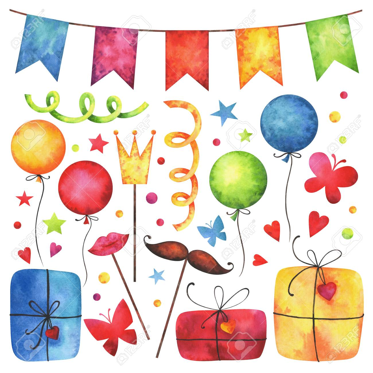 Watercolor Happy birthday party clip art set. Hand painted hearts, gift boxes, festive garlands, air balloons, cake, butterflies, hat cone, confetti, props, stars isolated on white background. - 93198664