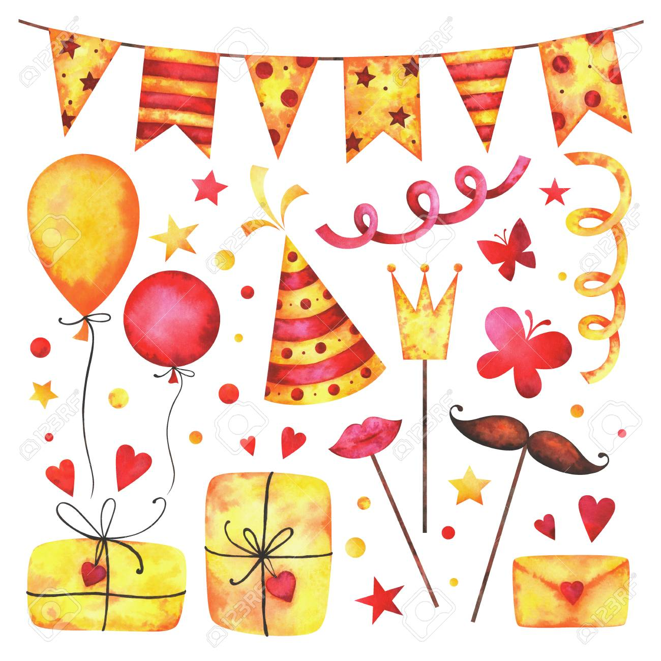 Watercolor Happy Birthday Party Clip Art Set Hand Painted Hearts Gift Boxes Festive