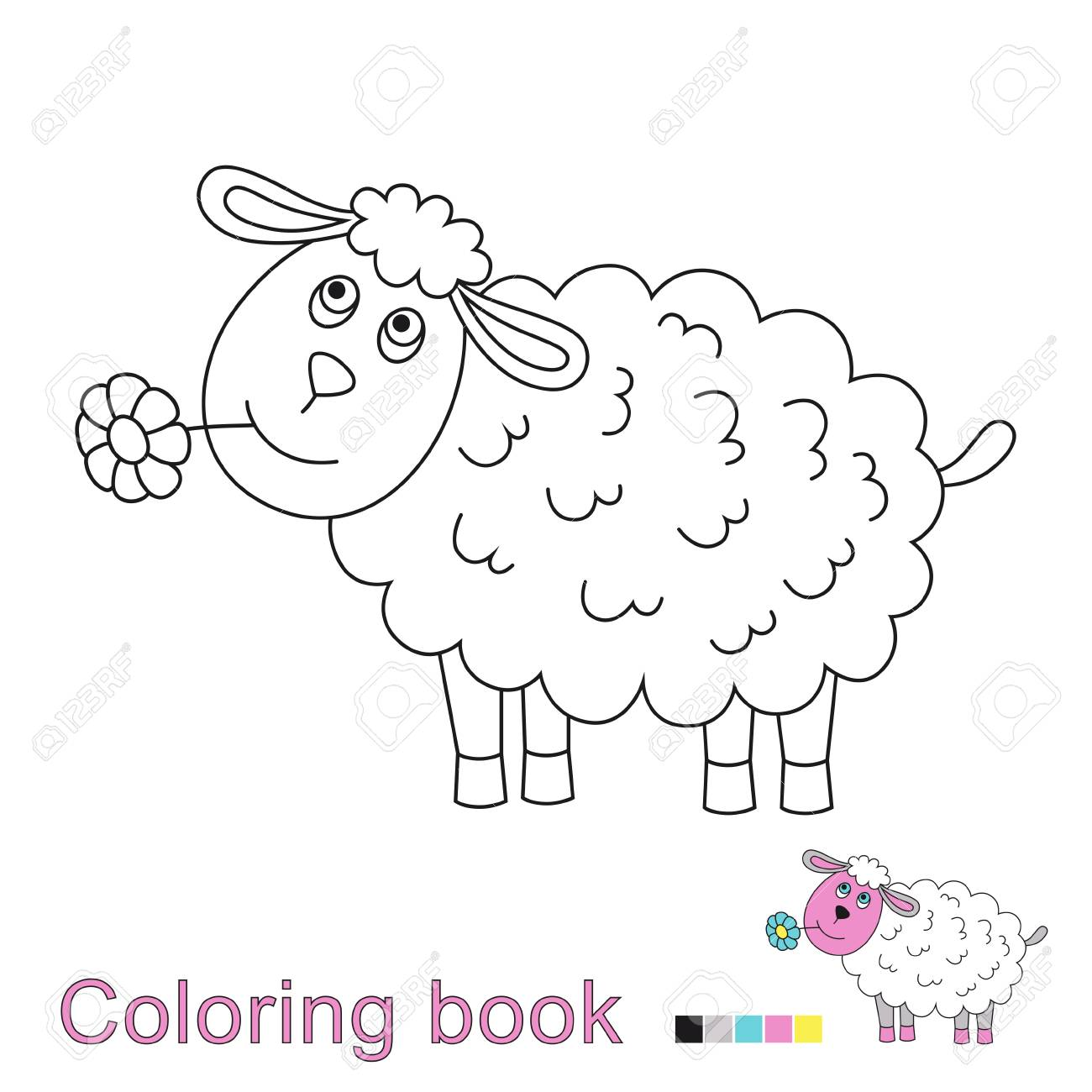 Vector Illustration Of A Funny Sheep Coloring Book. Simple ...
