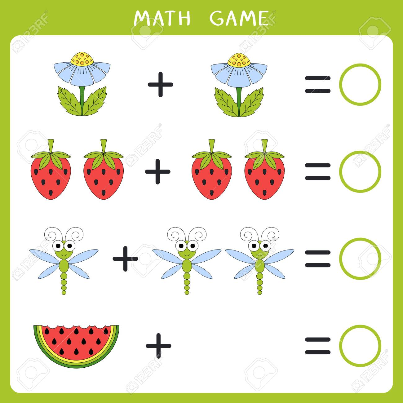 Educational math game for kids. Add and write the result. Vector illustration - 138824749