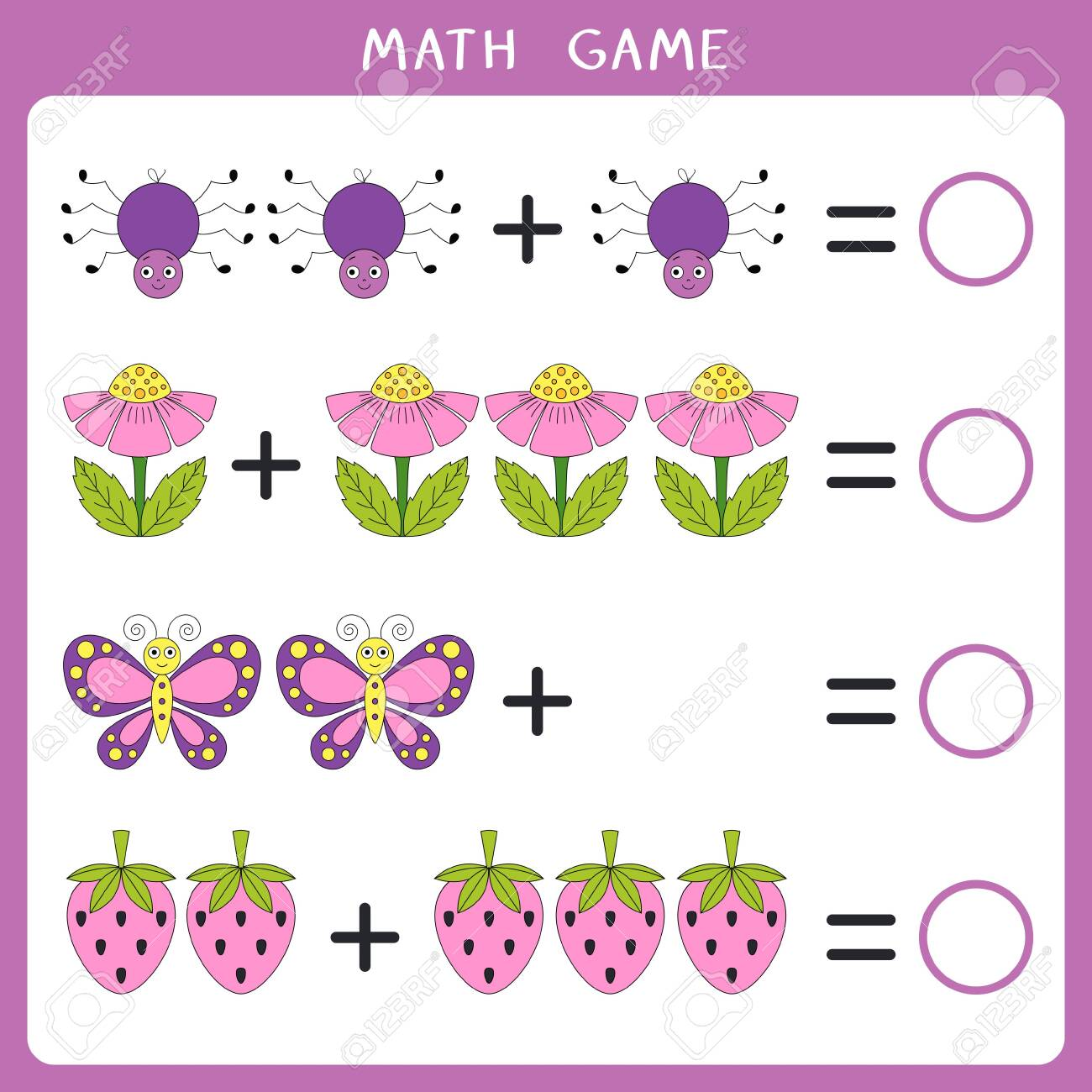 Educational math game for kids. Add and write the result. Vector illustration - 139632874