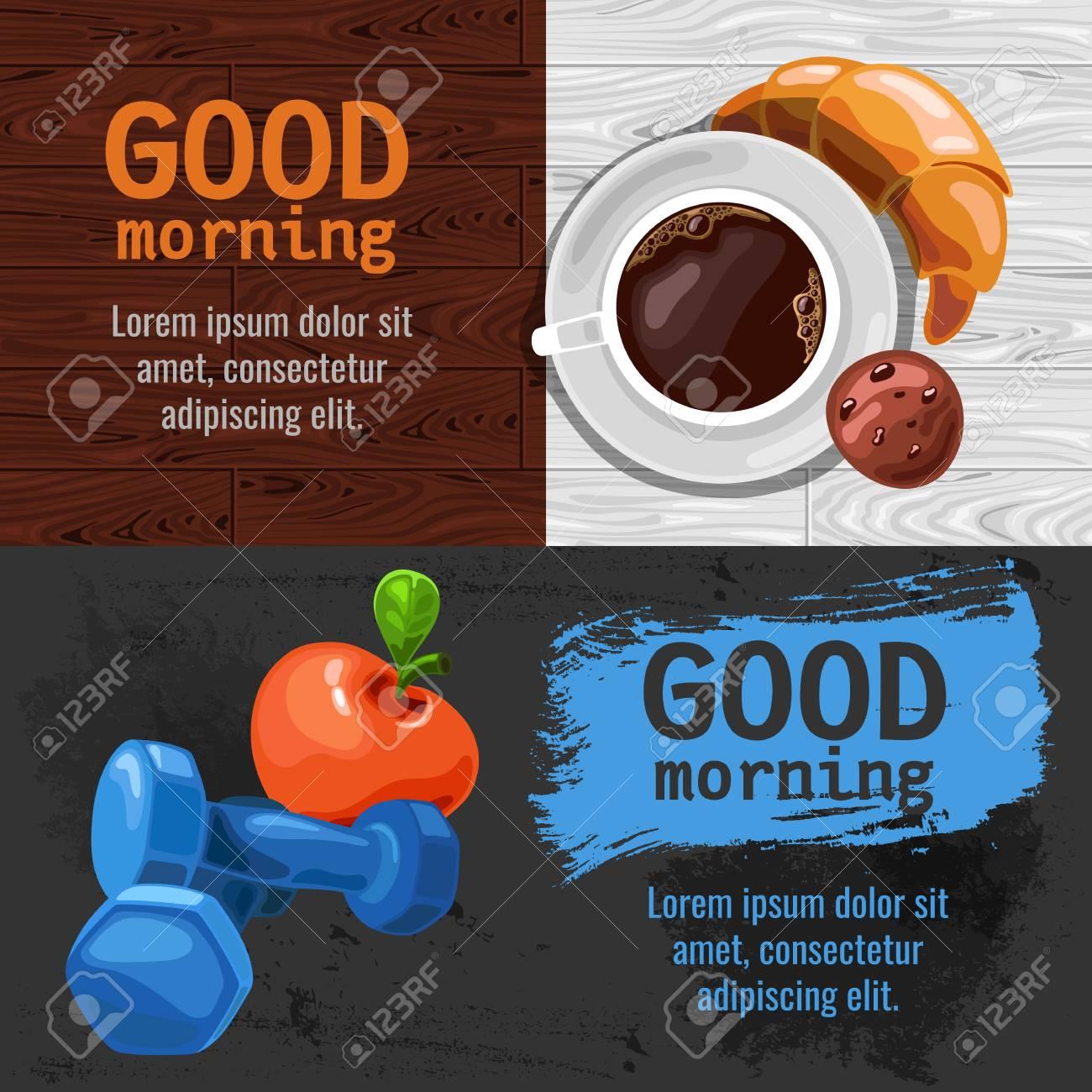 Buongiorno Poster Una Buona Giornata Inizia Con Una Tazza Di Caffè E Un Cornetto Colazione Sana E Fitness
