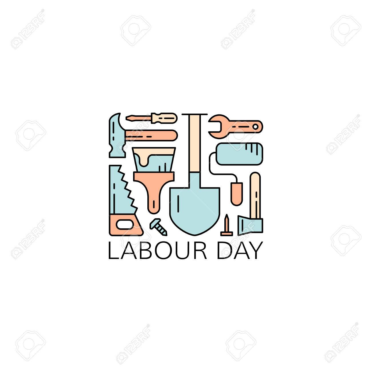 Labour day concept labor day greeting card working tools on labour day concept labor day greeting card working tools on white background vector m4hsunfo