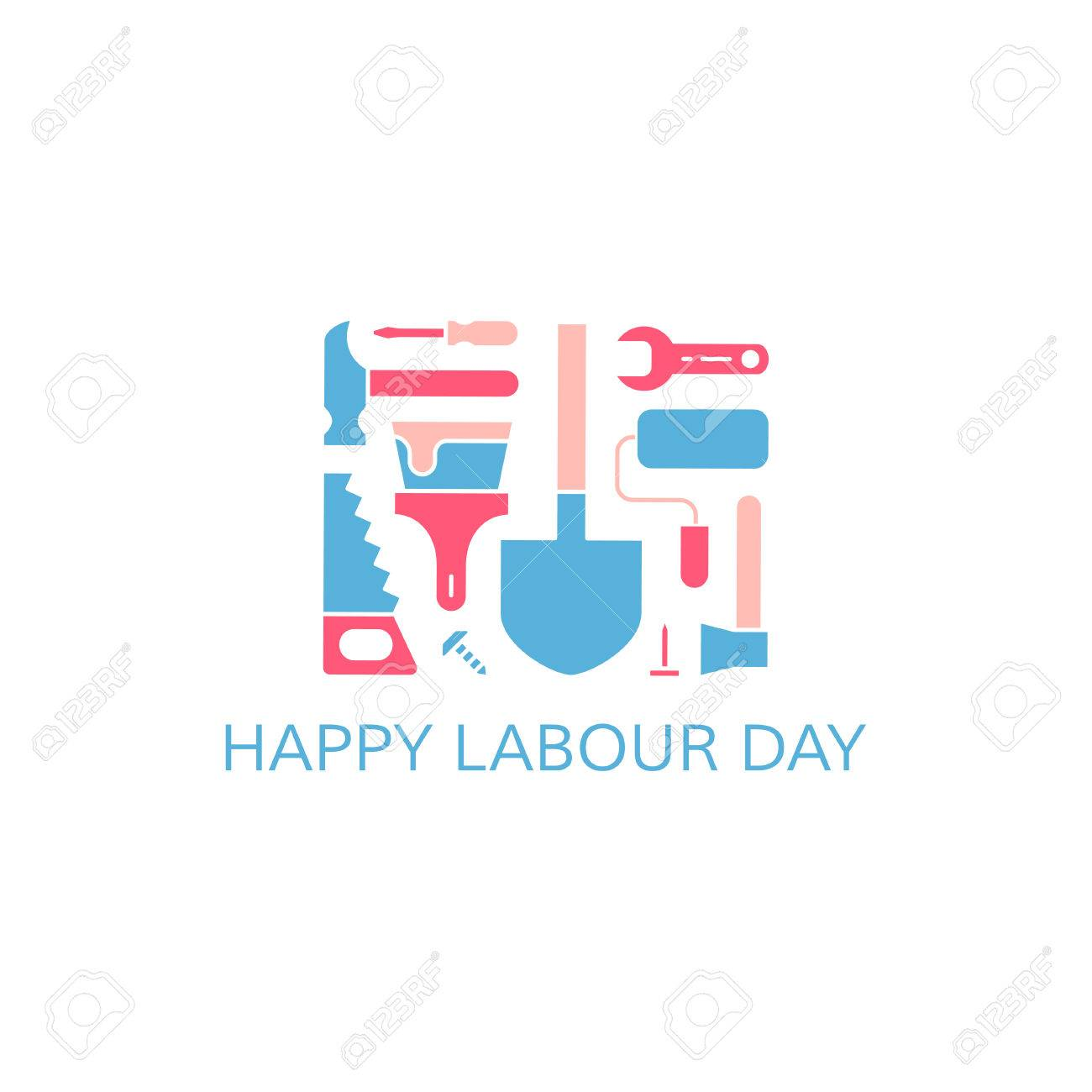 Happy labour day greeting card labour day concept working tools happy labour day greeting card labour day concept working tools on white background m4hsunfo