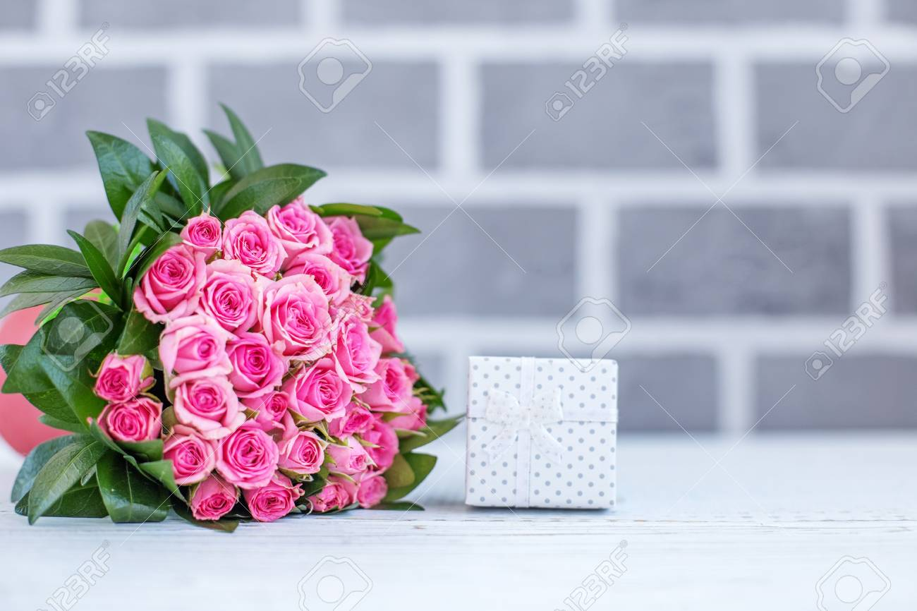 Beautiful Bouquet Of Roses For Greetings Gift Box Concept Happy Birthday March 8