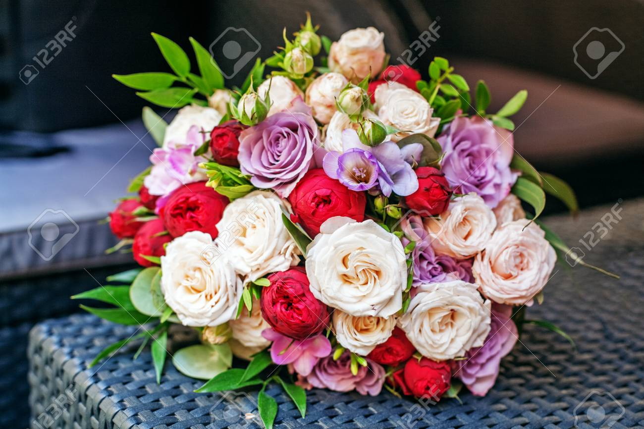 Beautiful Flower Bouquet Romantic Meeting The Concept Of Marriage