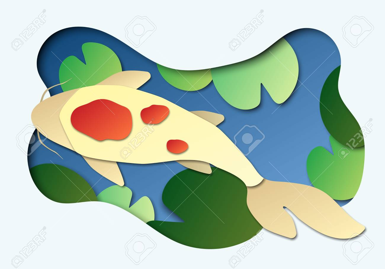 3d abstract paper cut illlustration of koi fish in the pond vector colorful banner or