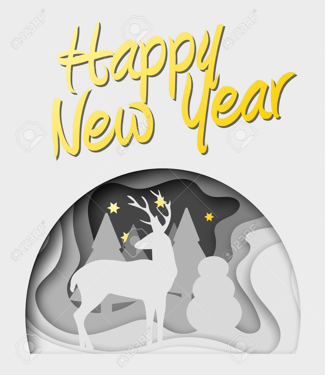 Layered Cut Out Paper Happy New Year Postcard With Trees Deer Stars Vector