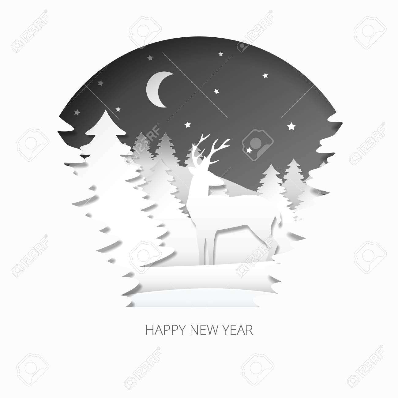 Happy new year 3d abstract paper cut illlustration of christmas happy new year 3d abstract paper cut illlustration of christmas tree deer moon and kristyandbryce Image collections