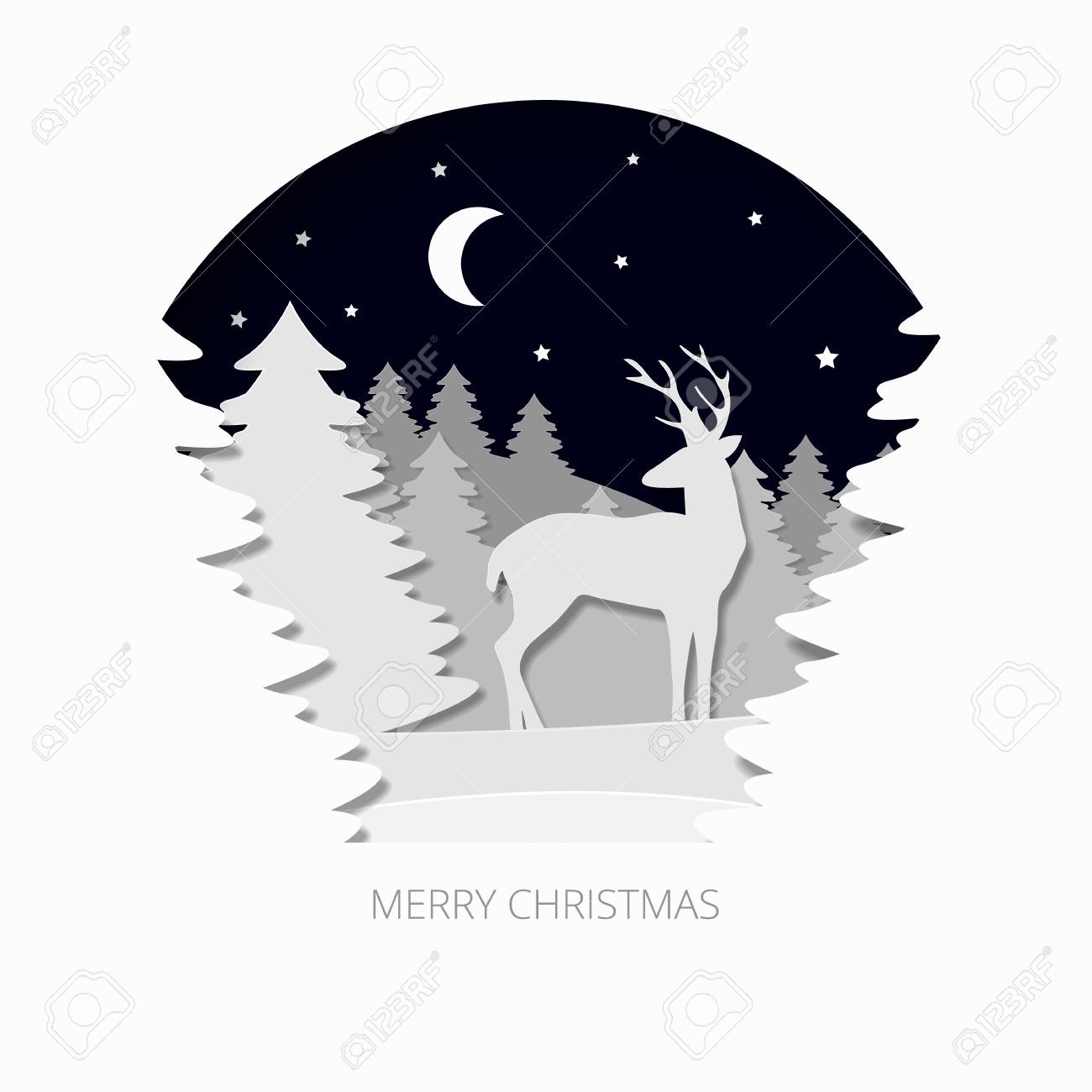 Merry christmas 3d abstract paper cut illlustration of christmas merry christmas 3d abstract paper cut illlustration of christmas tree deer moon and stars kristyandbryce Image collections